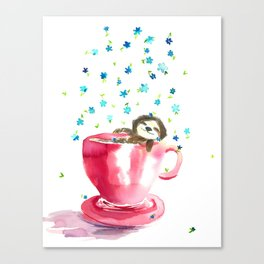 Sloth in coffee cup Canvas Print