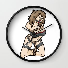 TIED AND GAGGED GIRL BDSM Bondage Slave Submissive Wall Clock