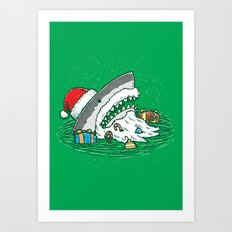 The Santa Shark Art Print
