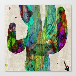 Rainbow 2 Neon Cactus Saguaro Poster print watercolor by Robert Erod Canvas Print