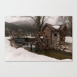 Winter Water Mill At Lake Jasna Canvas Print