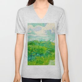 Field with Green Wheat 1890 Oil Painting By Vincent Van Gogh Unisex V-Neck