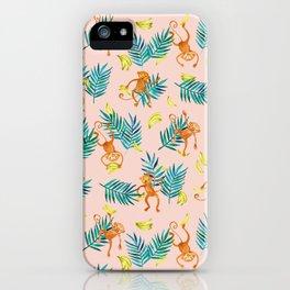 Tropical Monkey Banana Bonanza on Blush Pink iPhone Case