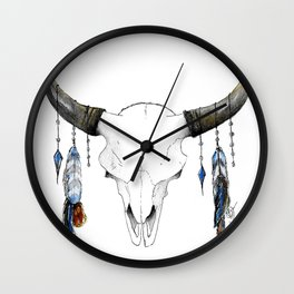 Skull with Feathers Wall Clock