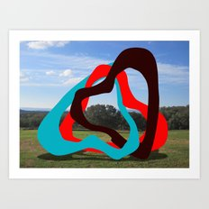 Triangles Red, Blue, Black - Sculpture Implants Series Art Print