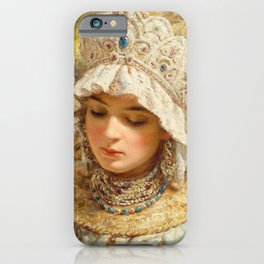Girl With Kokoshnik - Konstantin Makovsky iPhone Case