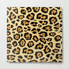 safari animal brown and tan cheetah leopard print Metal Print
