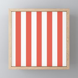 Fire opal pink - solid color - white vertical lines pattern Framed Mini Art Print