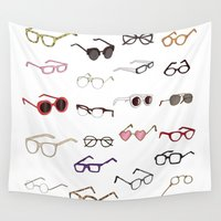 glasses Wall Tapestries featuring glasses by Janaína Esmeraldo