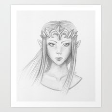 Zelda (Pencil Art Version) Art Print