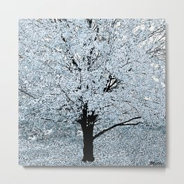 TREES WHITE ABSTRACT Metal Print
