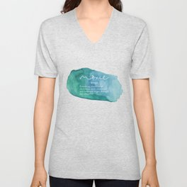 Moxie Definition - Blue Watercolor Unisex V-Neck