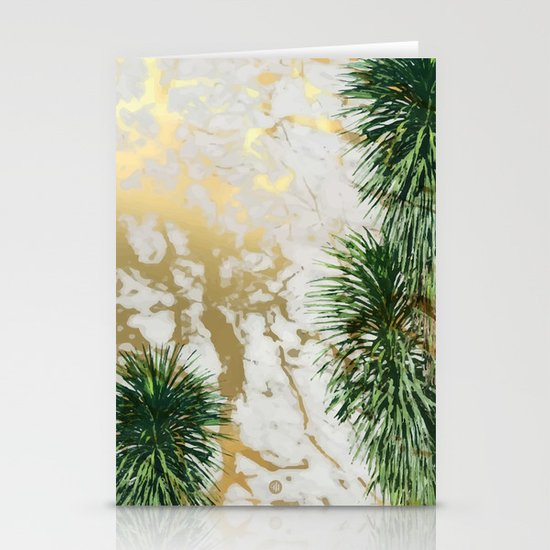 Gold Marble Texture With Palm Trees Stationery Cards By