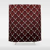 burgundy Shower Curtains featuring Mod Burgundy by River Oak Media