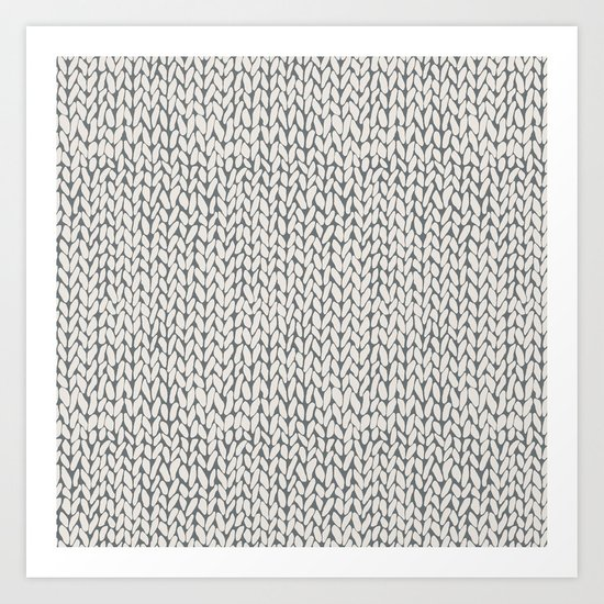 Hand Knit Grey Art Print