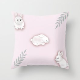 Bunnies and Leaves Throw Pillow