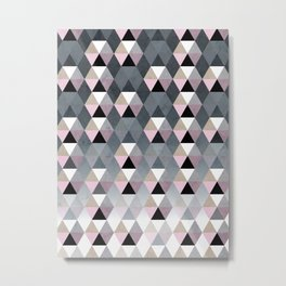 Geometric Prisme Pattern - Pink & Grey Metal Print