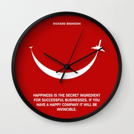 Lab No. 4 - Happiness is the secret Richard Branson Business Quotes Poster Wall Clock