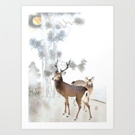 Couple Of Deer Under The Full Moon - Vintage Japanese Woodblock Print Art Art Print