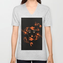 Fish bowl womans head, surreal girl's head fish bowl, aquarium illustration, human art Unisex V-Neck