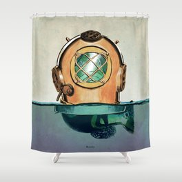 Fish in diving Shower Curtain