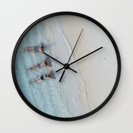 Girl Friends Just Want To Have Fun, Soaking in the Caribbean Waves photograph Wall Clock
