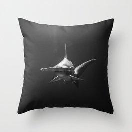 Hammerhead Shark (Black and White) Throw Pillow
