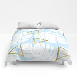 Watercolor tropical leaf XII Comforters
