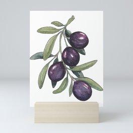 Black olive branch in watercolor  Mini Art Print