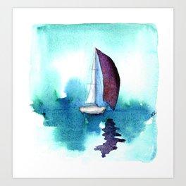 Purple Sails on Calm Seas Art Print