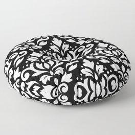 Scroll Damask Big Pattern White on Black Floor Pillow