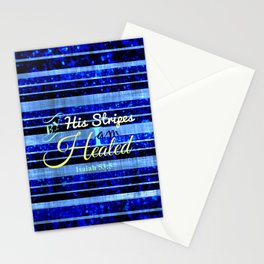BY HIS STRIPES Colorful Blue Stripes Bible Scripture Fine Art Pattern Typography God Jesus Faith Stationery Cards