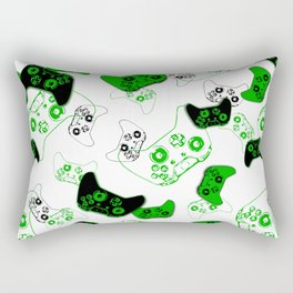Video Game White and Green Rectangular Pillow