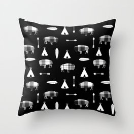 Buffalo Tribe on Black Throw Pillow
