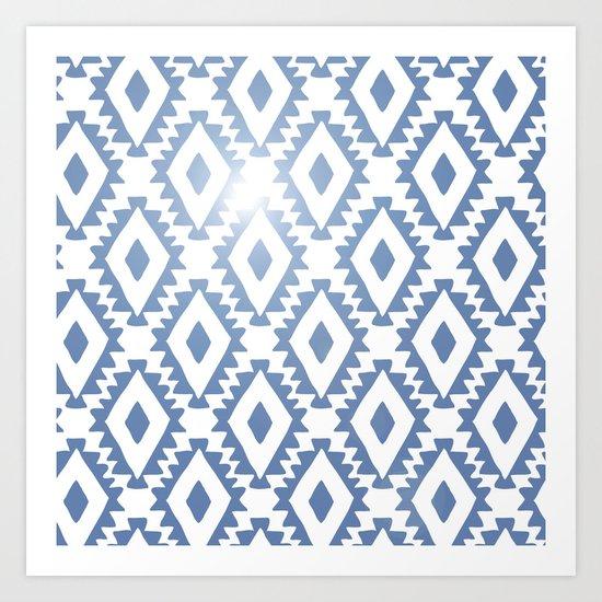Aztec geometrics - chambray Art Print