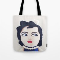 rockabilly Tote Bags featuring Rockabilly Sailorgirl by A Little Vintage