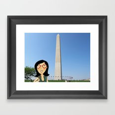 A tourist strolling through The National Mall in Washington DC Framed Art Print