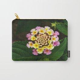 Fresh Lantana Flower Against Leaf Background Carry-All Pouch