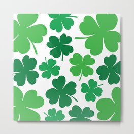 Lucky 4 Leaf Clover Pattern (green/white) Metal Print