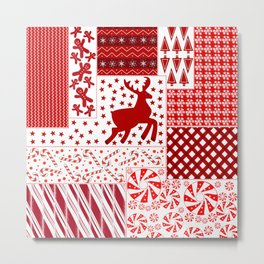 Holiday Red Quilt Design Metal Print