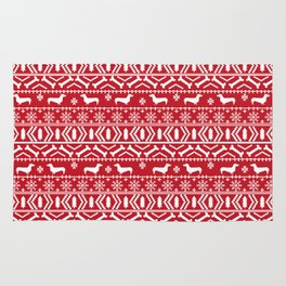 Dachshund fair isle christmas dog breed gifts for dog lover pet art cute holiday doxie dogs Rug