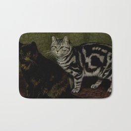 Vintage Short-Haired Cats Painting (1903) Bath Mat