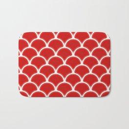 Large scallops in fabulous fiesta red Bath Mat