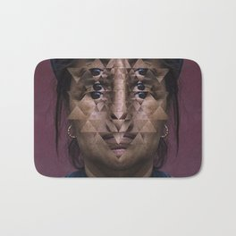 Glitch Portrait #1 Bath Mat