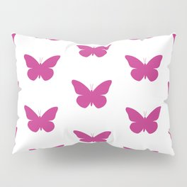Pink Butterfly Pattern and Print Pillow Sham