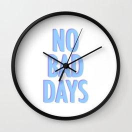 No Bad Days Pastel Blue Wall Clock