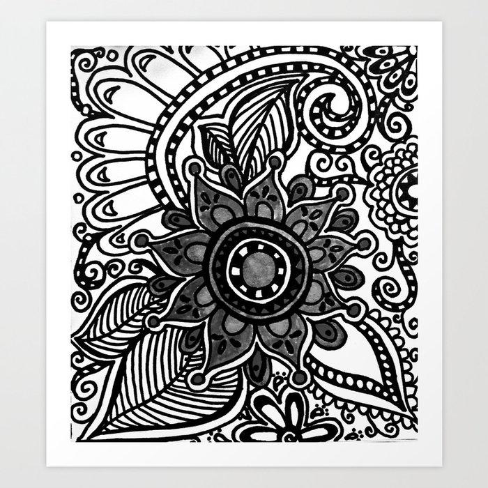 Flower Doodle Black And White Art Print By Daniellekline Society6