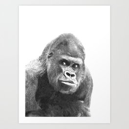 Black and White Gorilla Art Print