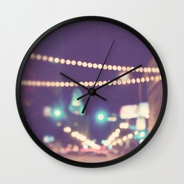 Downtown Los Angeles at night photograph. Sparkle No. 2 Wall Clock