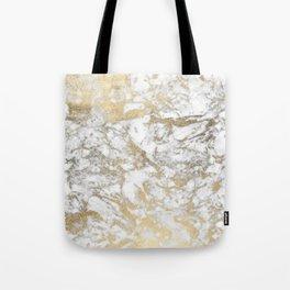 Modern chic faux gold white elegant marble Tote Bag
